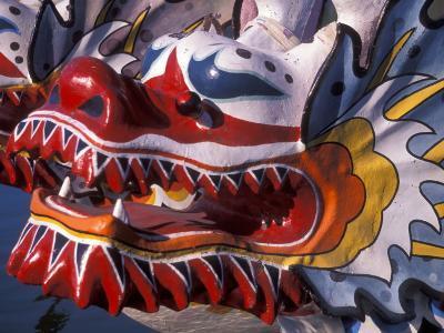Ornate Detail of a Dragon Boat on the Willamette River, Rose Festival, Portland, Oregon, USA