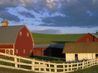 Red Barn with Fenceline in Summer, Whitman County, Washington, USA