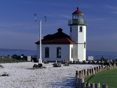 Alki Point Lighthouse on Elliot Bay, Seattle, Washington, USA