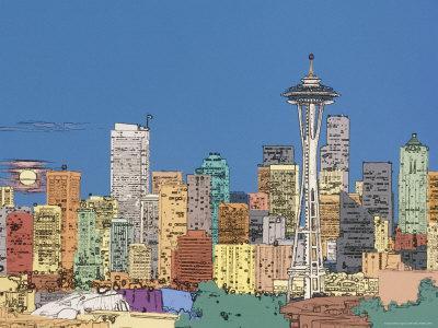 Seattle Skyline with Full Moon Rising, Washington, USA