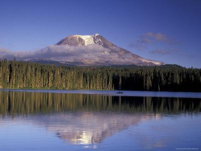 Mt. Adams with Reflection in Takhlakh Lake, Gifford Pinchot National Forest, Washington, USA