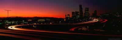 Skyline with S in Road, Seattle, Washington, USA
