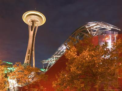 Experience Music Project (EMP) with Space Needle, Seattle, Washington, USA