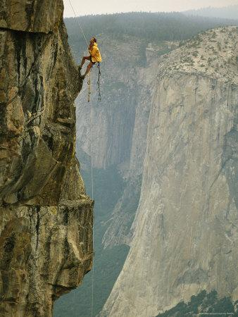 Climber Makes his Way up a Rock Face to Taft Point