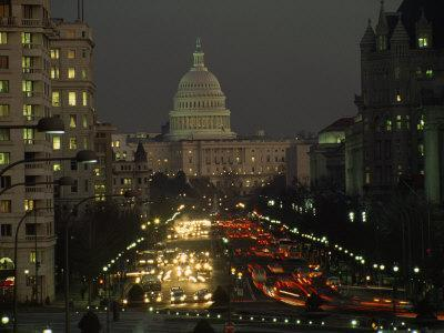 The US Capitol Building, as Viewed from Pennsylvania Avenue During Twilight Hours