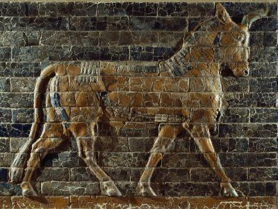 A Glazed Relief Depicting a Bull from the Ishtar Gate in the Ancient City of Babylon in Iraq