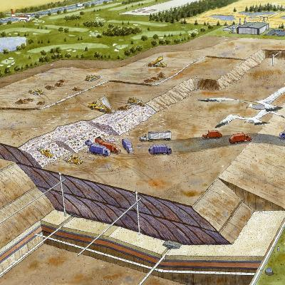 A Painting Depicting One Design Used in the Construction of a Landfill
