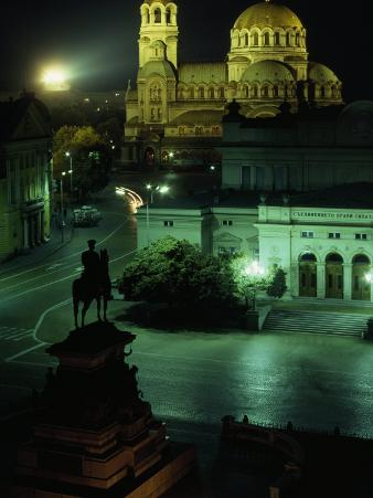 Statue of Tsar Alexander II Faces the Alexander Nevski Cathedral, Sofia, Bulgaria
