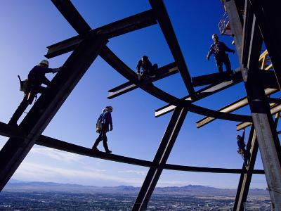Construction Workers on Beams at the Top of the Statosphere Tower, Las Vegas, Nevada