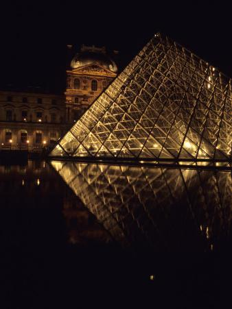 A Night View of the Im Pei Pyramid at the Louvre, Paris, France