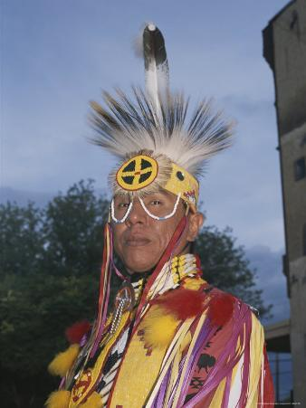 A Portrait of a Dakota Sioux Indian in Traditional Dress