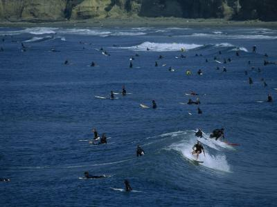 Number of Surfers Show the Popularity of Surfing at Pacific Beach Park, San Diego, California