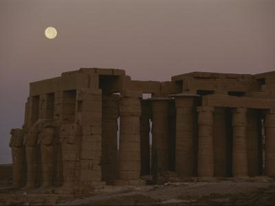 Moon over Ruins of Ramesseum in the Valley of the Kings, Egypt