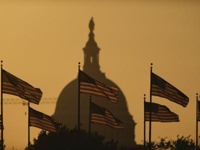 Twilight View of American Flags Flying Near the Capitol Building