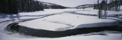 Winter Panoramic of the Lewis River Blanketed in Snow
