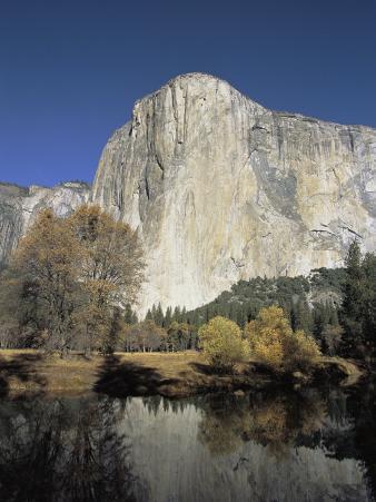 El Capitan Rises Above Fall Foliage and the Merced River