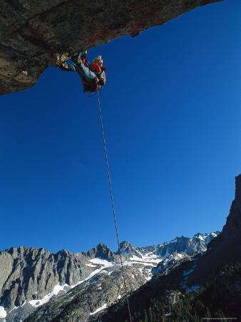 A Mountain Climber Rappels off of a Crag in John Muir Wilderness Area