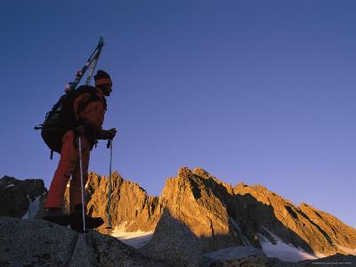 A Ski Mountaineer Near Palisade Glacier in the John Muir Wilderness