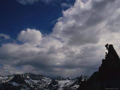 A Mountaineer on South Lake Crags in the John Muir Wilderness