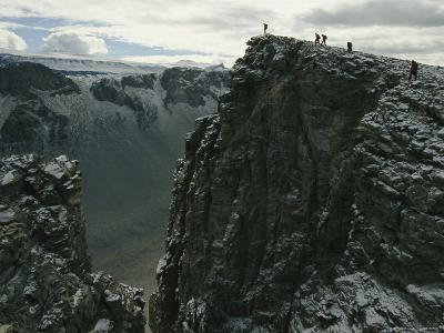 Hikers Climb to the Top of a Peak Above Antarcticas Wright Valley