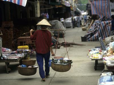 Woman with Bamboo Hat Carries Balanced Baskets, Pingxiang Market