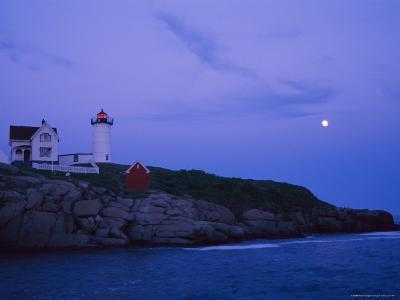 A Twilight Moon Joins the Historic Nubble Lighthouse