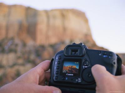 A Photographer Checks the Screen of His Digital Camera after the Shot