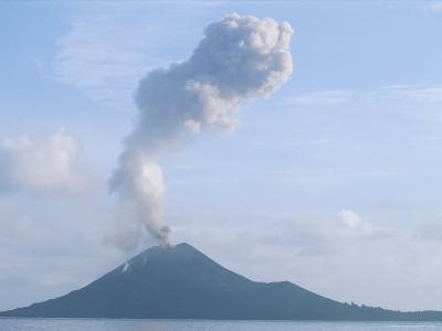 Smoke and Ash Rise from Krakatoa Volcano, Krakatan was the Original Name of This Volcano