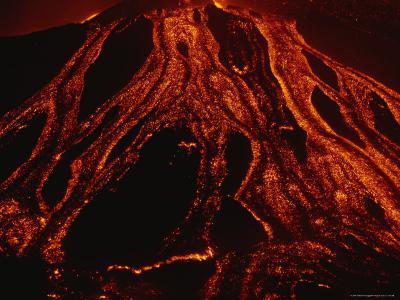 Molten Lava Flows Down a Volcanic Slope