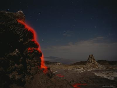 Time Exposure of Flowing Lava; Ol Doinyo Lengai