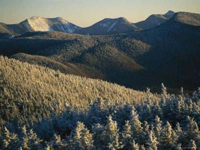 Snow Covers Trees and Hills in the Adirondack Mountain Region