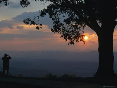 Sunset and Silhouetted Oak and Person over the Shenandoah Valley, Dickeys Ridge Visitors Center