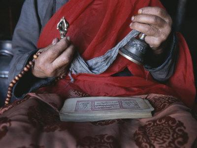 Buddhist Lama with Prayer Book, Prayer Beads and Dorge