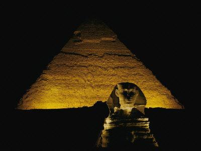 The Great Sphinx is Illuminated at Night