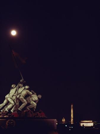 Night View of the Iwo Jima Monument under a Full Moon