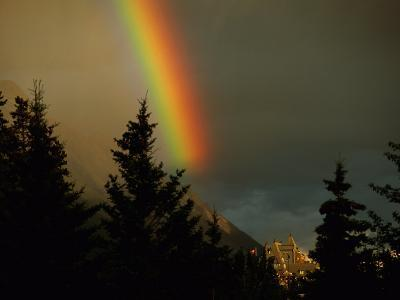 Rainbow from Evening Thunderstorm over Mount Rundle