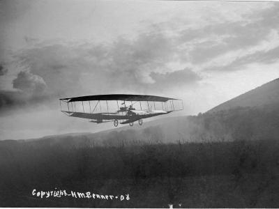 View of an Early Airplane in Flight Taken in 1908