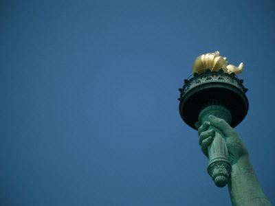A Close View of the Torch Held by the Statue of Liberty