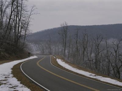 A Winter View of Virginias Winding, Snow-Lined Skyline Drive