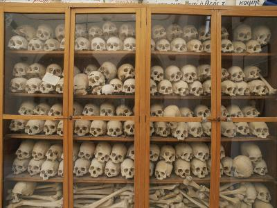 Human Skulls and Femurs Fill a Display Case at Nea Moni Monastery
