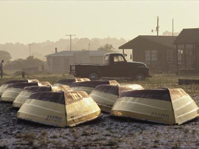 Rows of Upturned Wooden Rowboats on Chincoteague Island