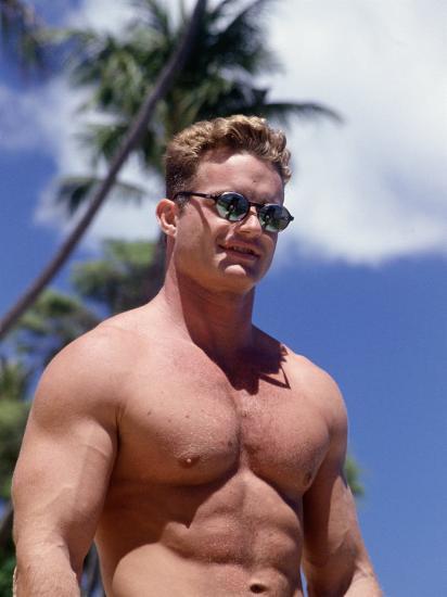 Semi-Nude Man With Sunglasses, Hawaii Photographic Print By Rob Garbarini At -6637