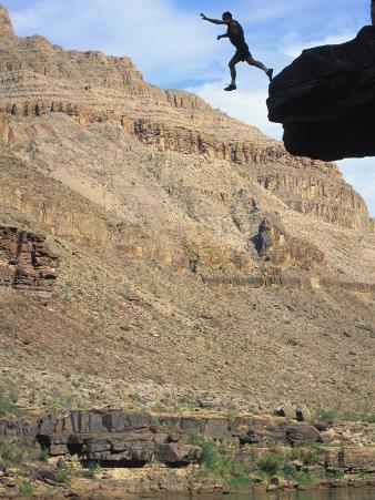 Man Jumping off Cliff, Grand Canyon Natl Park, AZ
