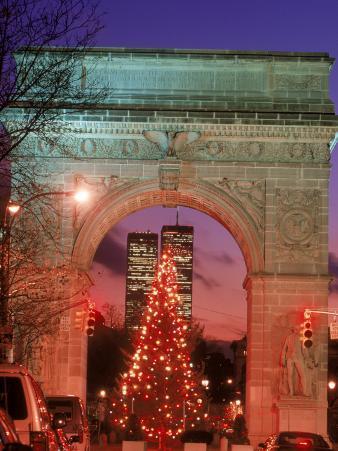 Christmas Tree in Washington Square Arch, NYC