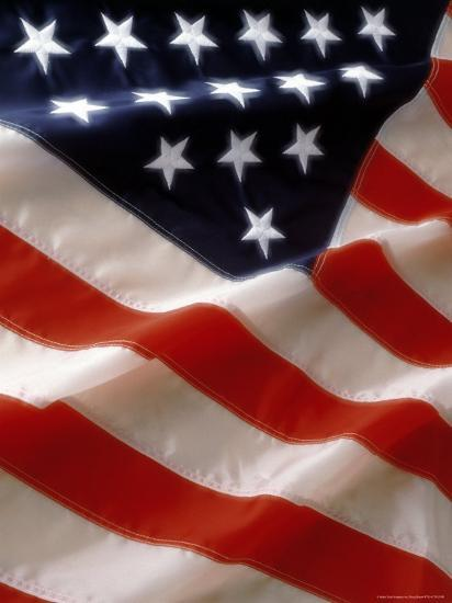 Close Up Of Stars And Stripes On The American Flag