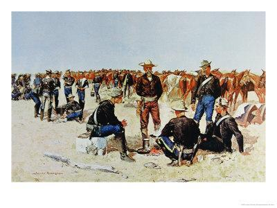 Cavalryman's Breakfast on the Plains, from an Oil Painting c.1890