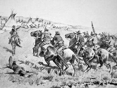 Texas Rangers Attacking a Comanche Village, 1896
