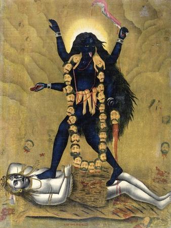 Hindu Goddess Kali Dancing on Siva