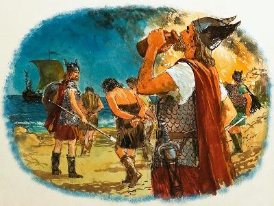 Viking Warrior Taking a Drink