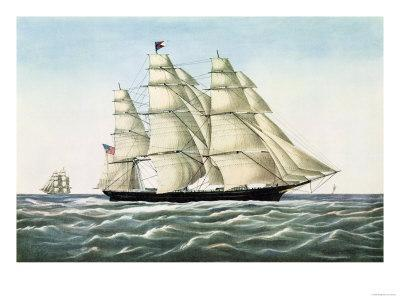 """The Clipper Ship """"Flying Cloud"""", Published by Currier and Ives, 1852"""